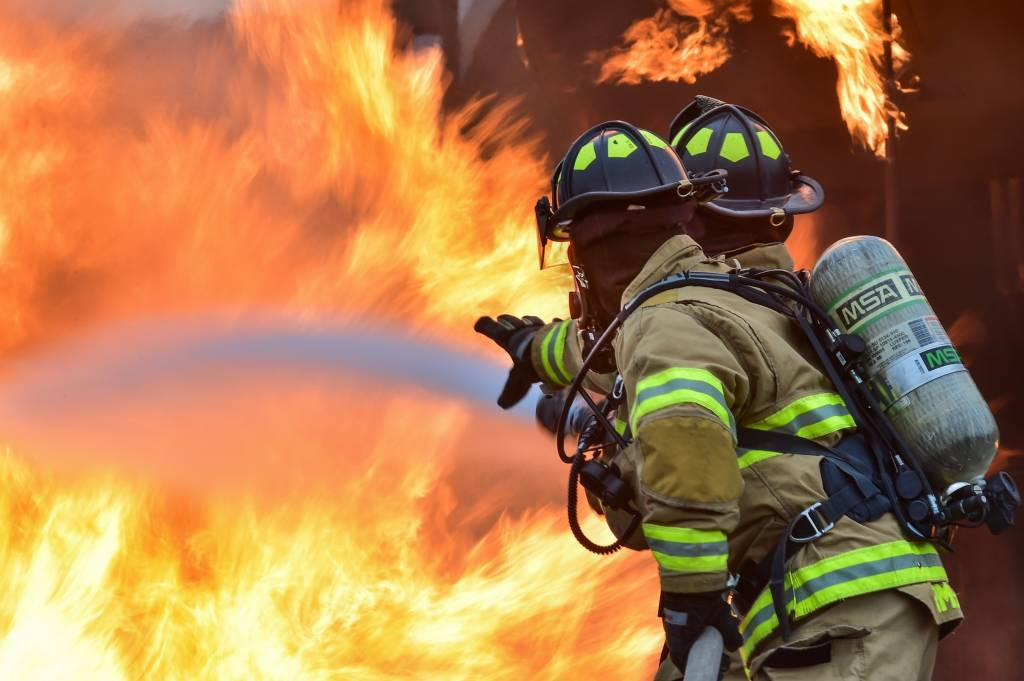 Firefighters with Hose and Big Fire